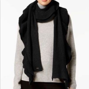 Calvin Klein Ribbed Knit Tiered Ruffled Scarf